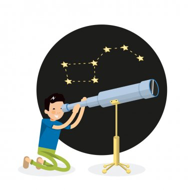 Cool guy vector character looks through a telescope and sitting