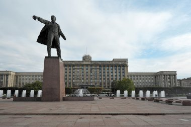 Moscow square and the monument to Lenin in St. Petersburg, Russi