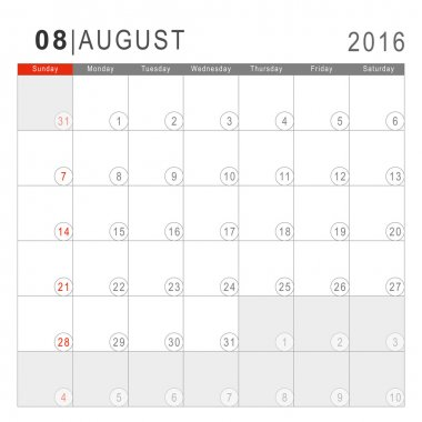 Calendar 2016. Vector Flat Design Template. August. Week Starts