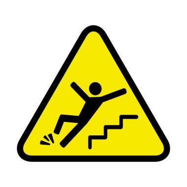 vector danger sign of a person falling down the stairs