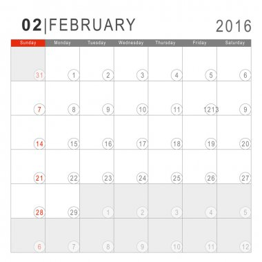 Calendar 2016. Vector Flat Design Template. February. Week Start