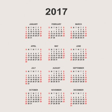 Simple 2017 year calendar.  Vector circle calendar 2017. Week st
