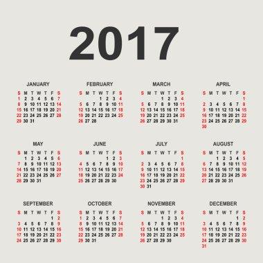Calendar for 2017 on grey background. Vector circle calendar 201