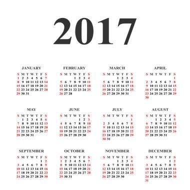 Calendar for 2017 on white background. Vector circle calendar 20