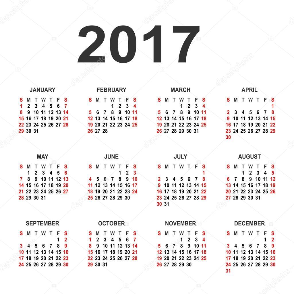 Photography Calendar 2017 : Calendar for on white background vector circle