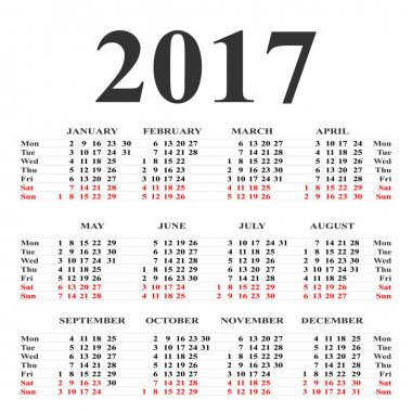 Calendar for 2017 on white background. Vector circle calendar 20
