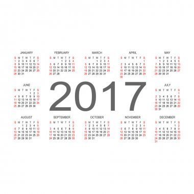 Simple 2017 year calendar.  Vector circle calendar 2017. Week st