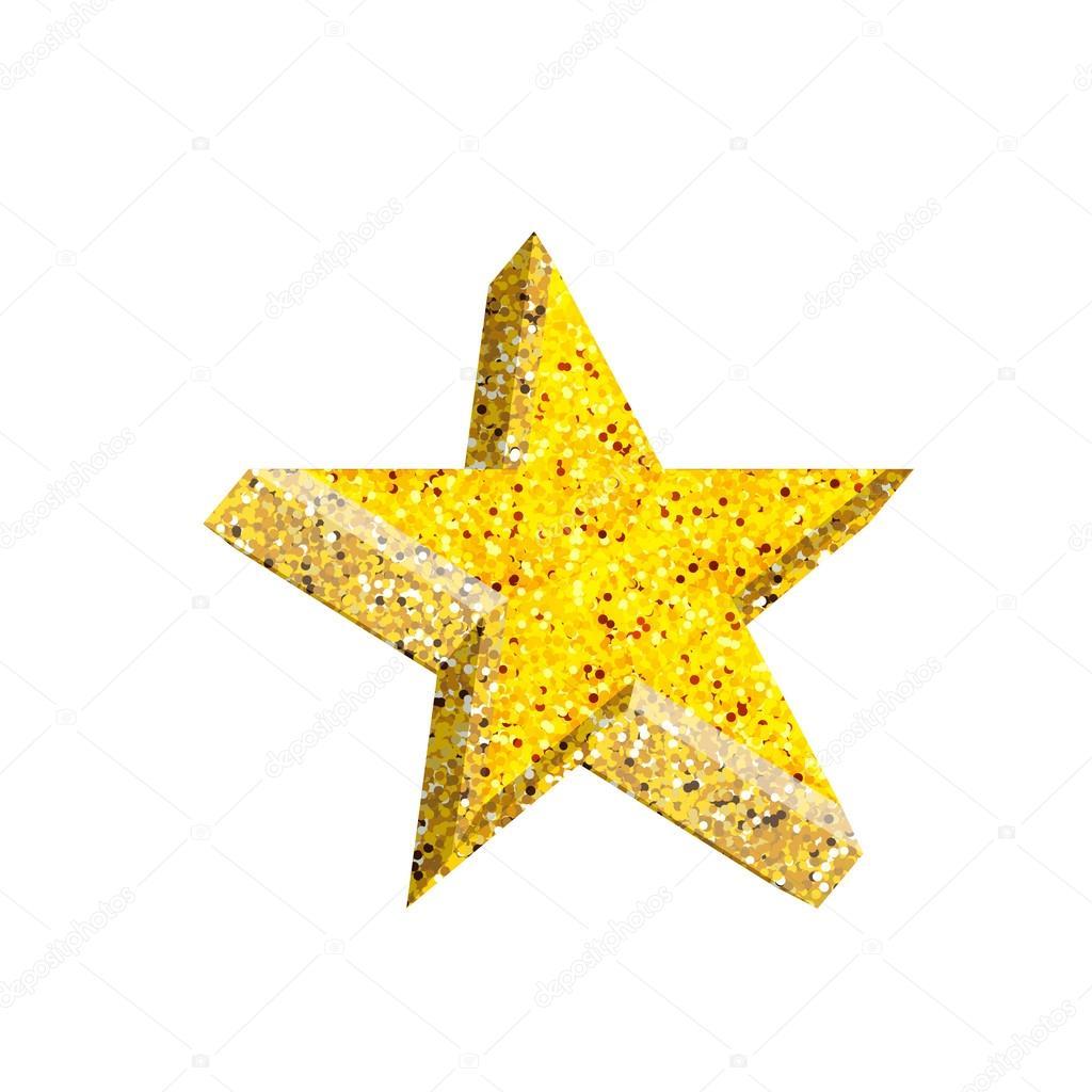 Single golden 3d star shine on white background — Stock Vector