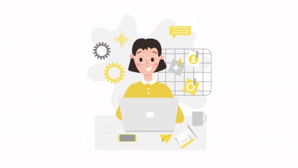 Home office concept animation. Young woman (mom) working from home Freelance work concept. Alpha channel added.