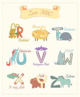 Set of cartoon alphabet characters with animals v.3