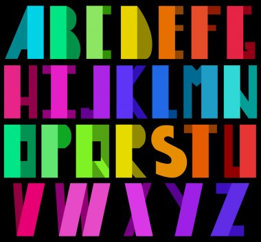 Colorful alphabet in disco style