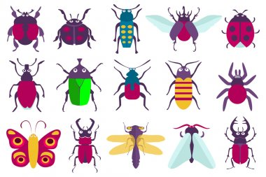 insects made in modern flat style