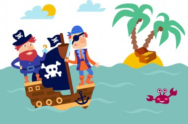 Lovely pirate set in cartoon style.