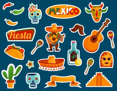stylized Mexico elements and icons