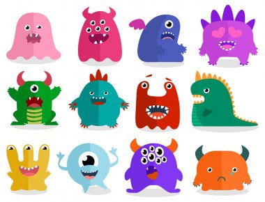 Funny Colored Characters Monsters.