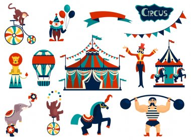 Vintage circus collection with carnival, fun fair, vector icons and background and illustration. stock vector