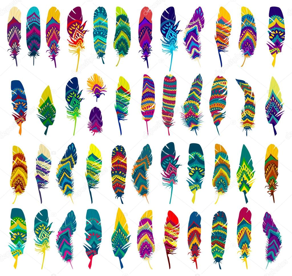 colorful Tribal Ethnic Feathers