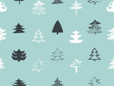 Seamless Hand drawn Christmas trees
