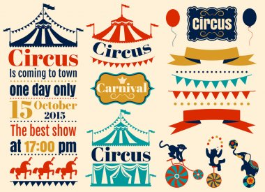Vintage Hipster Circus labels set. Vector flat illustration. stock vector
