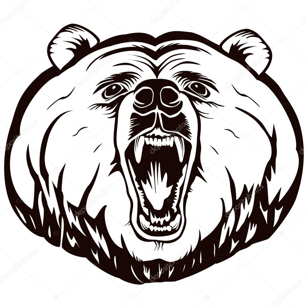 BEAR FACE ANGRY LOGO WHITE