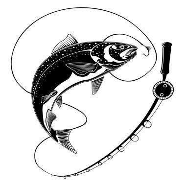 SALMON FISH WITH FISHING ROD BLACK WHITE