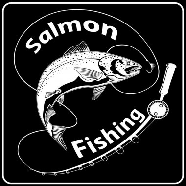SALMON FISH WITH FISHING ROD BLACK