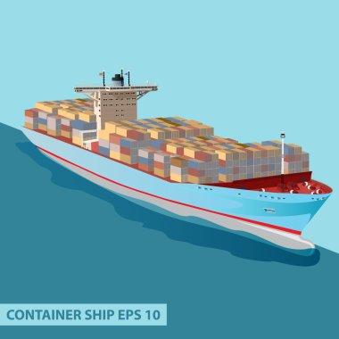 CARGO SHIP CONTAINERS OCEAN BLUE