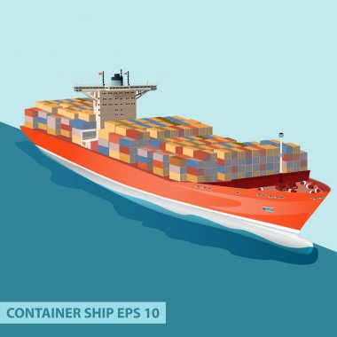 CARGO SHIP CONTAINERS OCEAN ORANGE