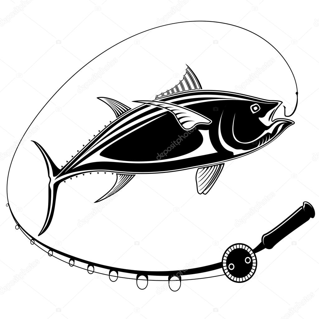 Tuna fish with fishing rod black white stock vector for White fishing rod