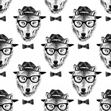 seamless pattern dressed up wolf