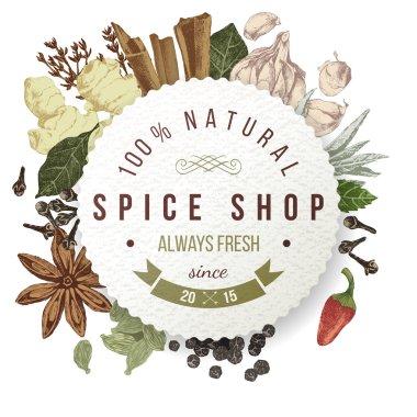 spice shop paper emblem with different spices