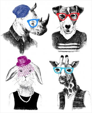 dressed up animals set in hipster style