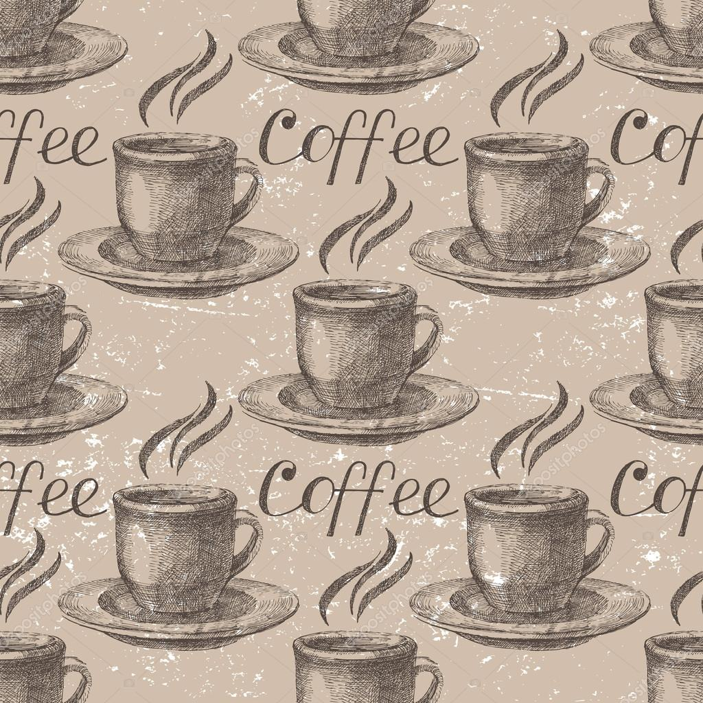 Hand drawn coffee seamless
