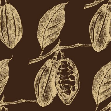 hand drawn cocoa beans seamless