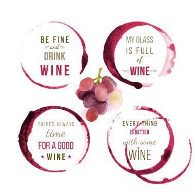 Watercolor wine type designs