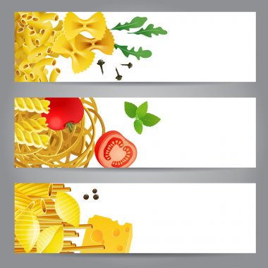 3 banners with different pasta types