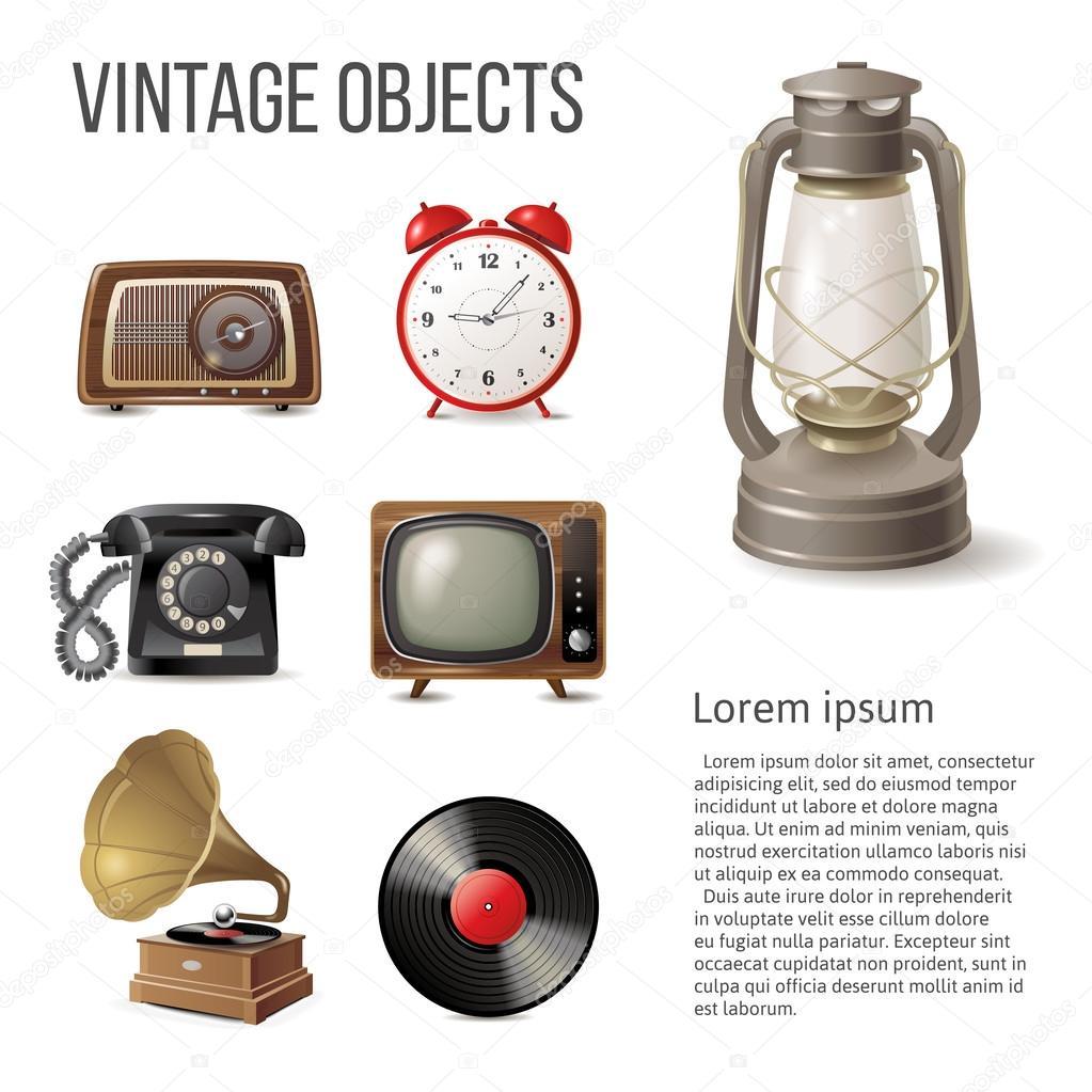 objetos vintage sobre fondo blanco u vector de martm