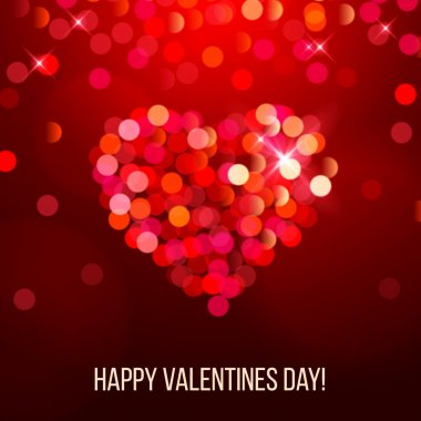 Valentines day card with bright bokeh heart clip art vector