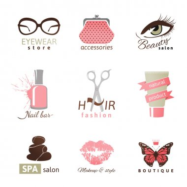 9 beauty and fashion logo templates clip art vector