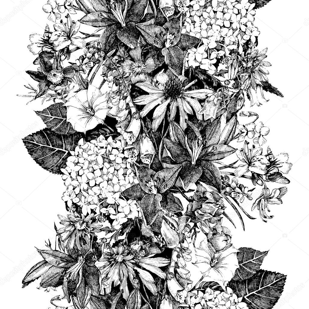 Hand drawn seamless floral  border