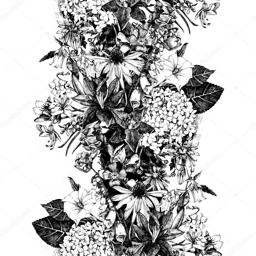Hand drawn seamless border with flowers
