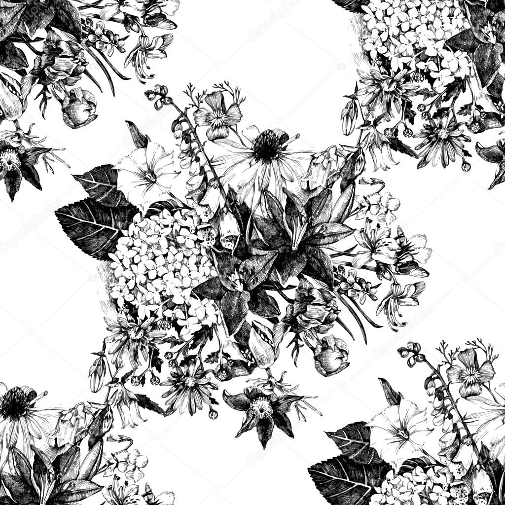 Hand drawn seamless pattern with flowers