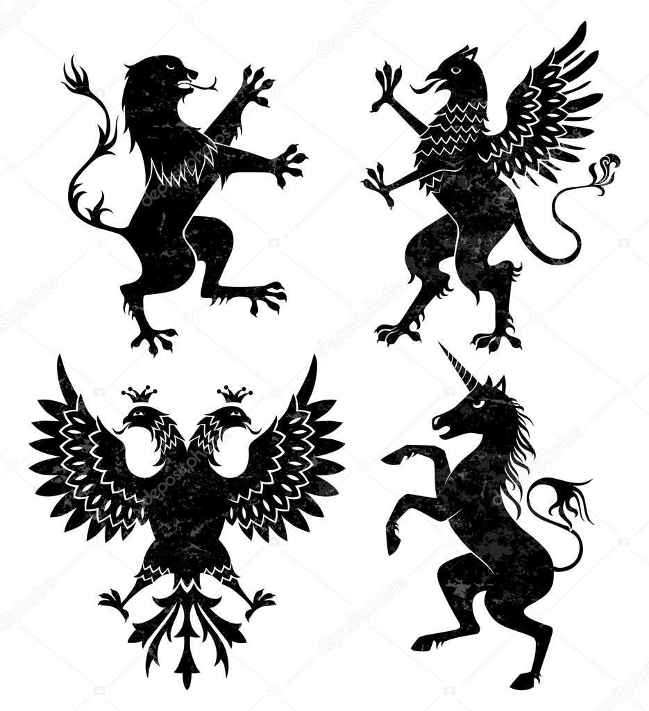 heraldic lion griffin eagle and unicorn u2014 stock vector mart m