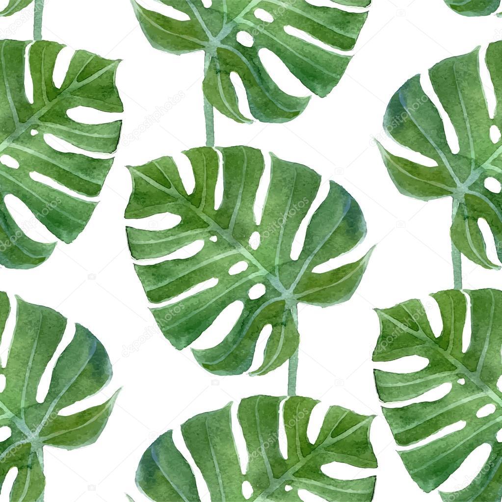 watercolor monstera leaf seamless pattern