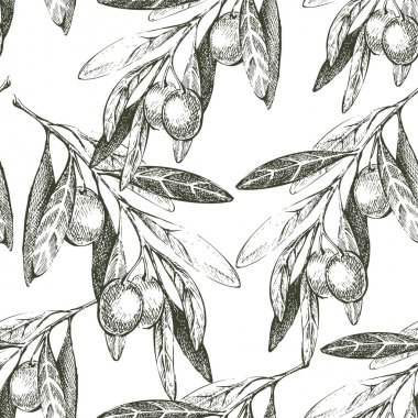 seamless pattern with hand drawn olives