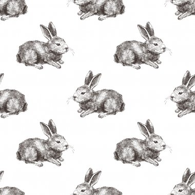 seamless pattern with hand drawn rabbit
