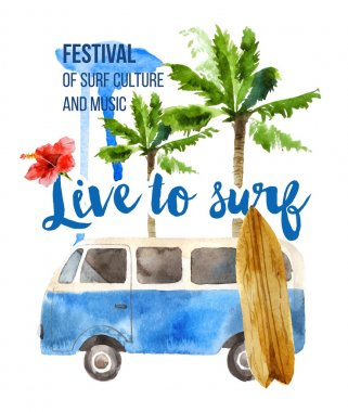 Live to surf poster in retro style