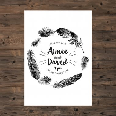 Brochure template with feathers wreath and save the date type design clip art vector