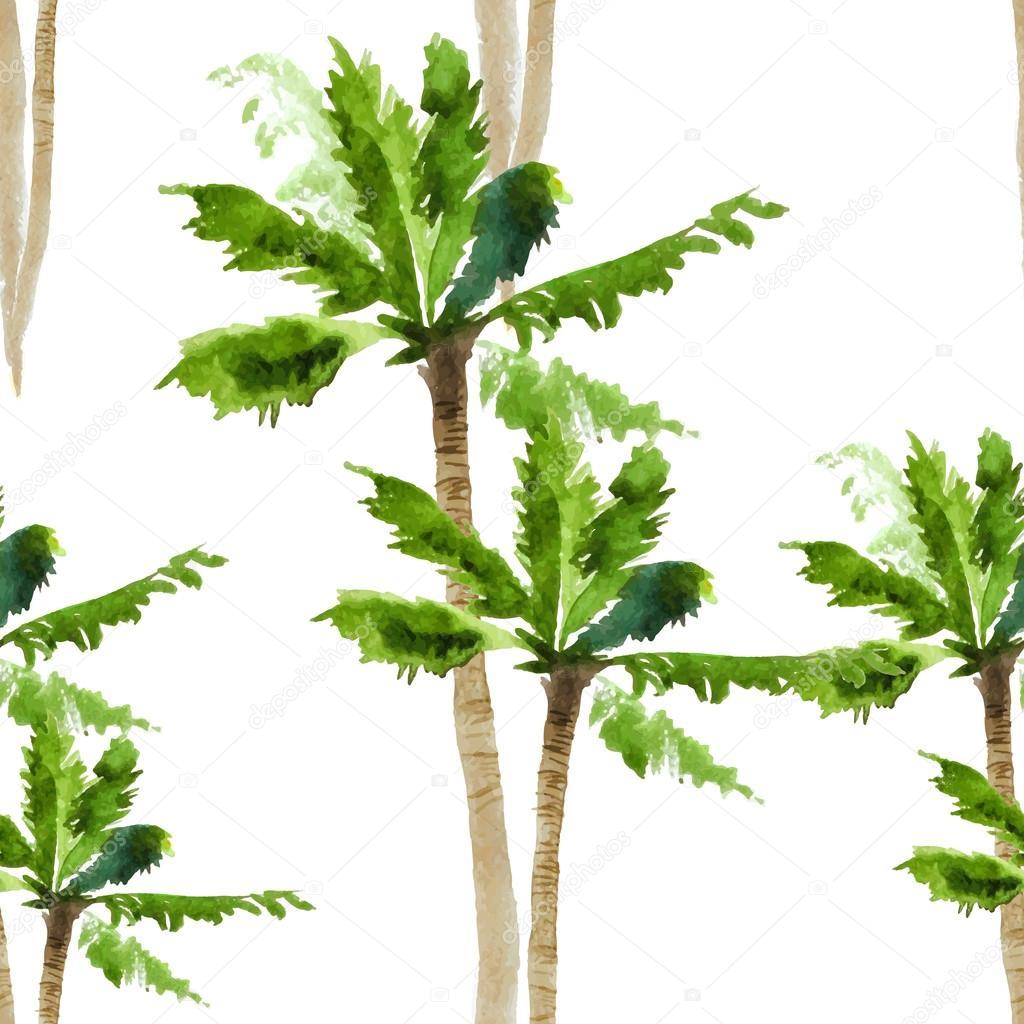 Palm watercolor seamless pattern