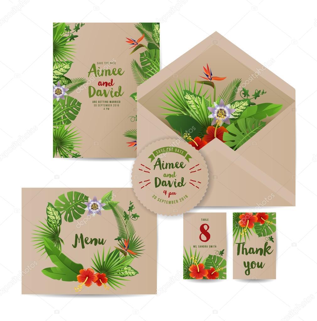 Tropical wedding invitation cards